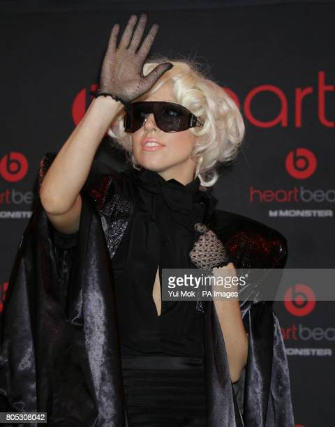 Lady Gaga attends a photocall to launch her new audiovisual product at HMV Oxford Street central London
