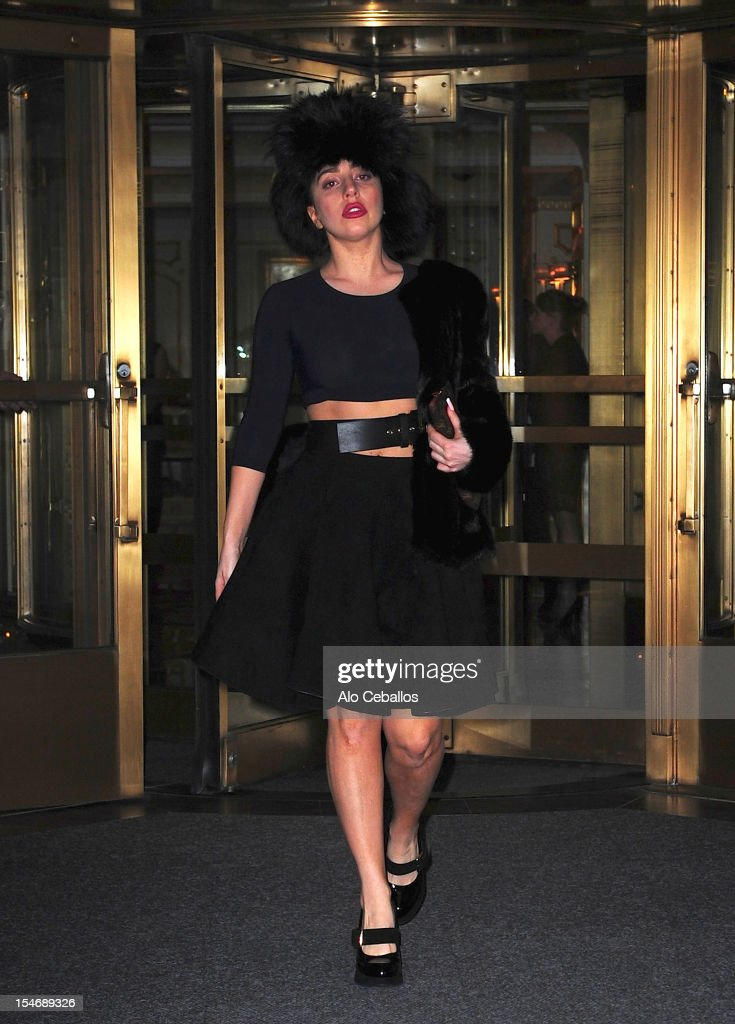 Lady Gaga attends a private dinner hosted by Donatella Versace at the Waldorf Towers on October 24, 2012 in New York City.