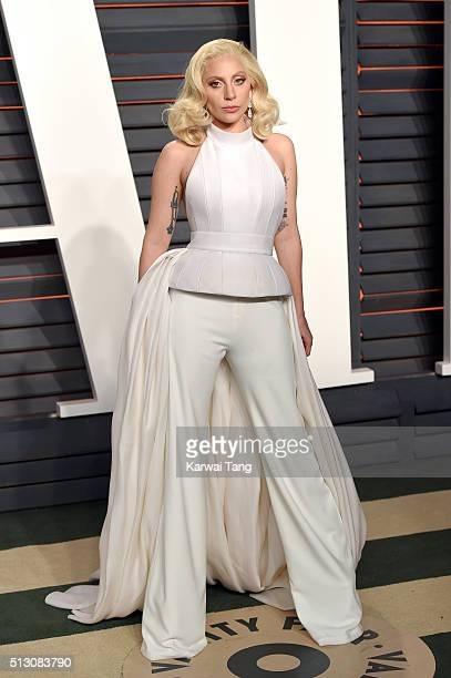 Lady Gaga attends the 2016 Vanity Fair Oscar Party Hosted By Graydon Carter at Wallis Annenberg Center for the Performing Arts on February 28 2016 in...