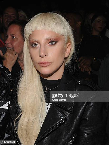 Lady Gaga attends the Alexander Wang Spring 2016 fashion show during New York Fashion Week at Pier 94 on September 12 2015 in New York City
