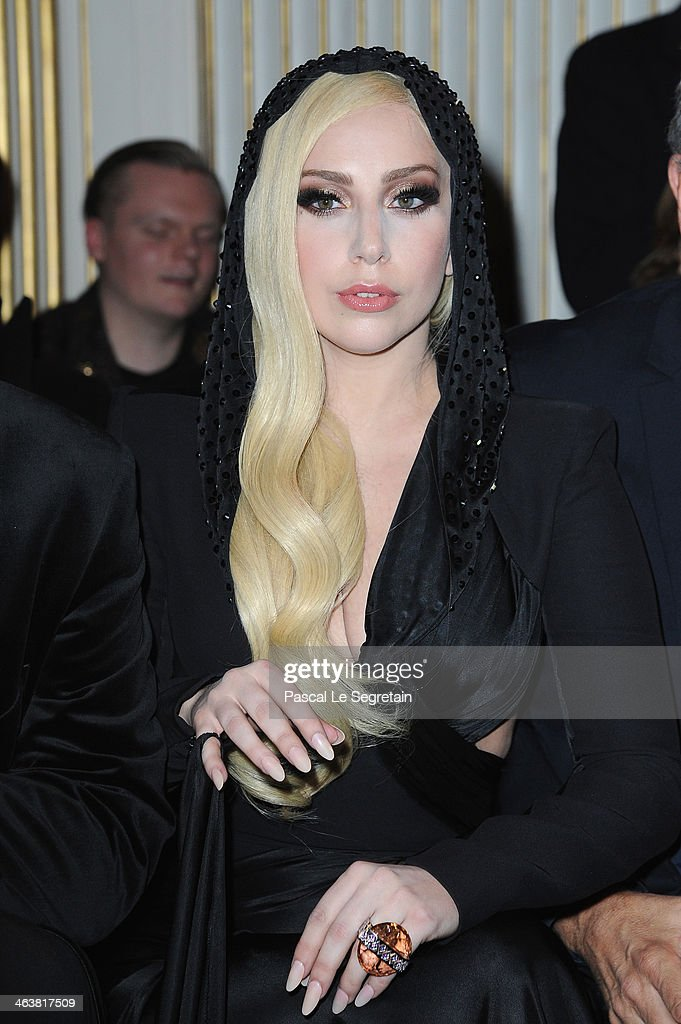<a gi-track='captionPersonalityLinkClicked' href=/galleries/search?phrase=Lady+Gaga&family=editorial&specificpeople=4456754 ng-click='$event.stopPropagation()'>Lady Gaga</a> attends the Atelier Versace show as part of Paris Fashion Week Haute Couture Spring/Summer 2014 on January 19, 2014 in Paris, France.