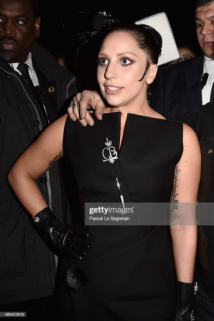 Lady Gaga attends the Balenciaga show as part of the Paris Fashion Week Womenswear Fall/Winter 2015/2016 on March 6 2015 in Paris France