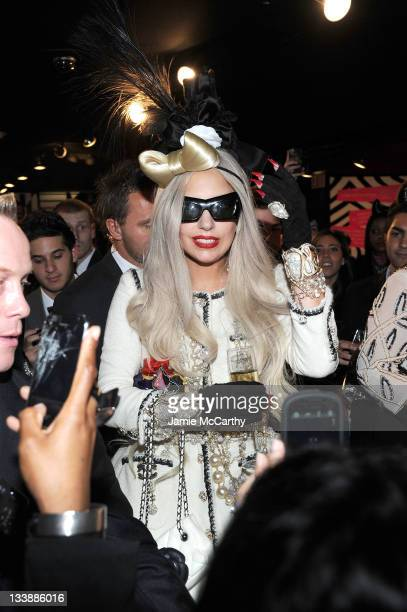 Lady Gaga attends the Barneys New York Celebration Launch of Gaga's Workshop at Barneys New York on November 21 2011 in New York City