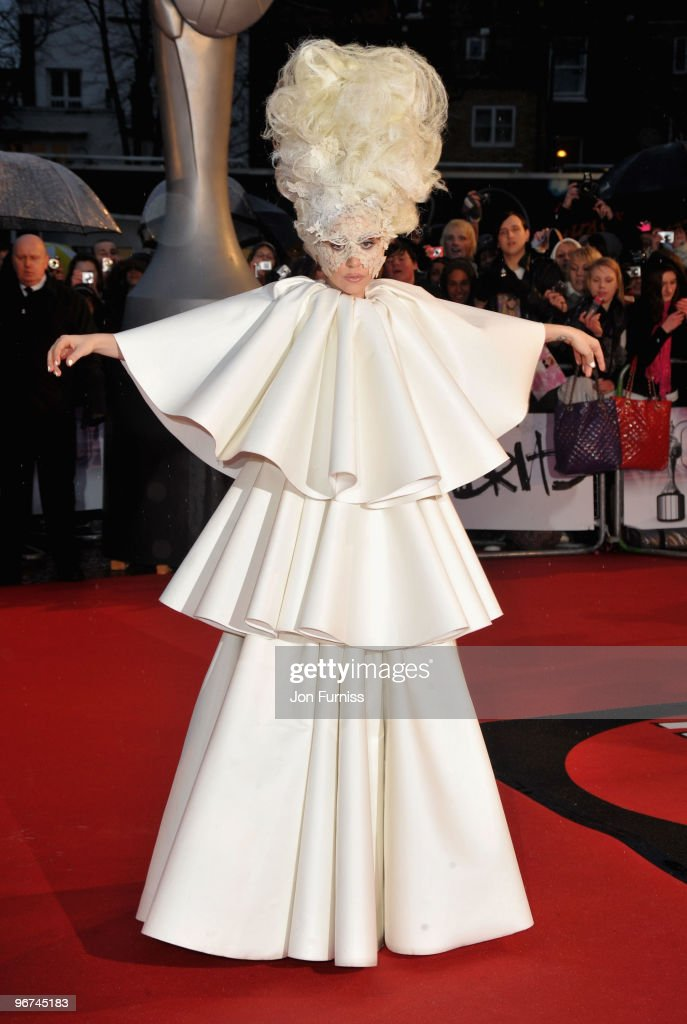 Lady Gaga attends The Brit Awards at Earls Court on February 16, 2010 in London, England.