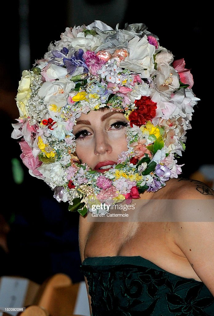 <a gi-track='captionPersonalityLinkClicked' href=/galleries/search?phrase=Lady+Gaga&family=editorial&specificpeople=4456754 ng-click='$event.stopPropagation()'>Lady Gaga</a> attends the front row for the Philip Treacy show on day 3 of London Fashion Week Spring/Summer 2013, at The Royal Courts Of Justice on September 16, 2012 in London, England.