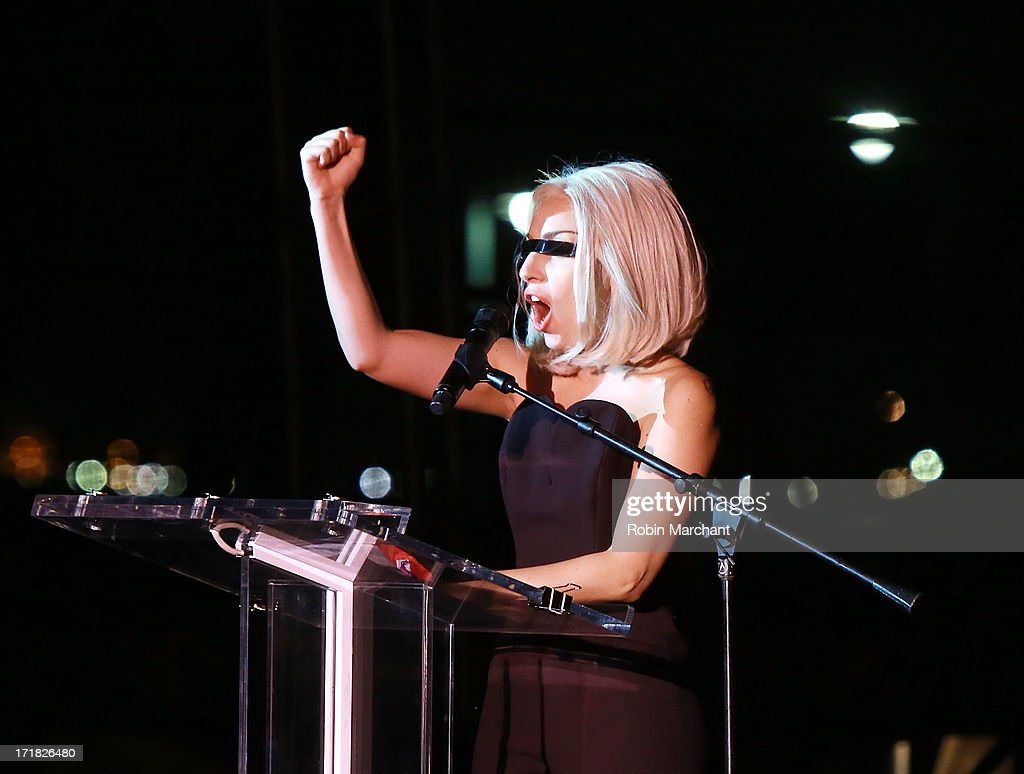 Lady Gaga attends The Rally during NYC Pride 2013 on June 28, 2013 in New York City.