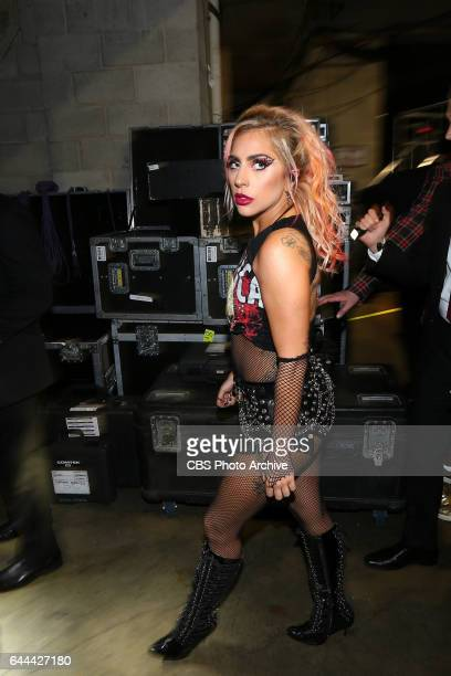 Lady Gaga backstage at THE 59TH ANNUAL GRAMMY AWARDS broadcast live from the STAPLES Center in Los Angeles Sunday Feb 12 on the CBS Television Network