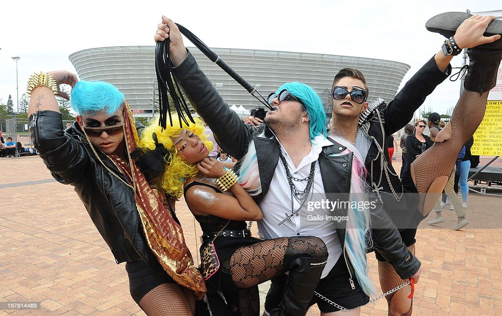 Lady Gaga fans Reg Hart, Dionne Song, Weslee Swain-Lauder and Jarryd Nurden outside Cape Town Stadium on December 3, 2012, in Cape Town, South Africa. This was the last South African performance in Lady Gaga's Born This Way Ball World Tour.