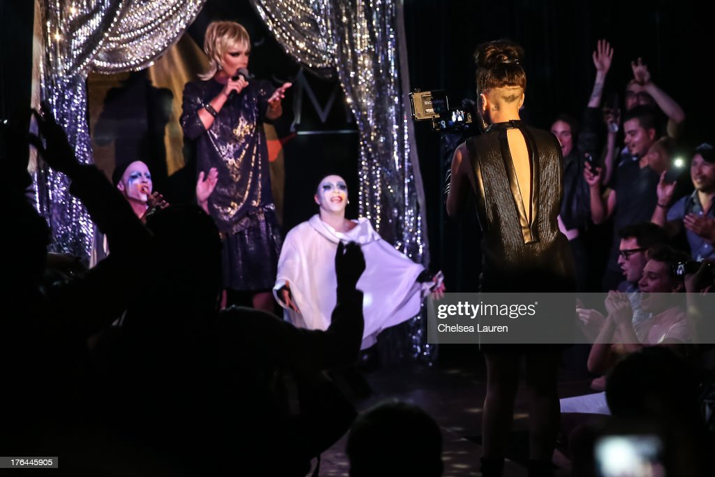 Lady Gaga (R) films a drag show with the cast of 'RuPaul's Drag Race' at Micky's on August 12, 2013 in Los Angeles, California.