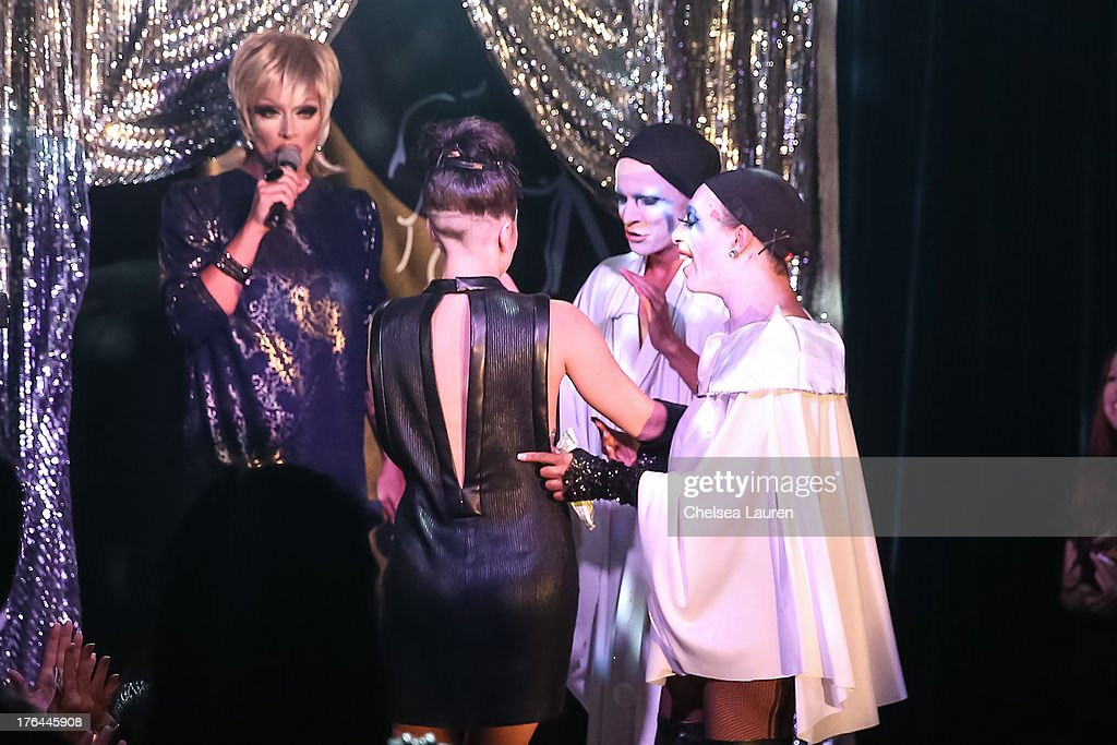 Lady Gaga (2L) films a drag show with the cast of 'RuPaul's Drag Race' at Micky's on August 12, 2013 in Los Angeles, California.