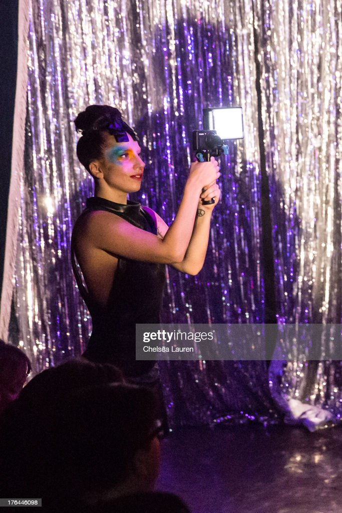 Lady Gaga films a drag show with the cast of 'RuPaul's Drag Race' at Micky's on August 12, 2013 in Los Angeles, California.
