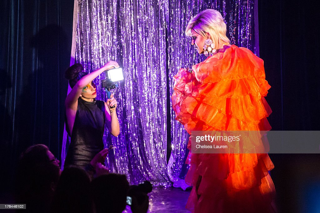 <a gi-track='captionPersonalityLinkClicked' href=/galleries/search?phrase=Lady+Gaga&family=editorial&specificpeople=4456754 ng-click='$event.stopPropagation()'>Lady Gaga</a> (L) films drag queen Shannel performing at a drag show with the cast of 'RuPaul's Drag Race' at Micky's on August 12, 2013 in Los Angeles, California.