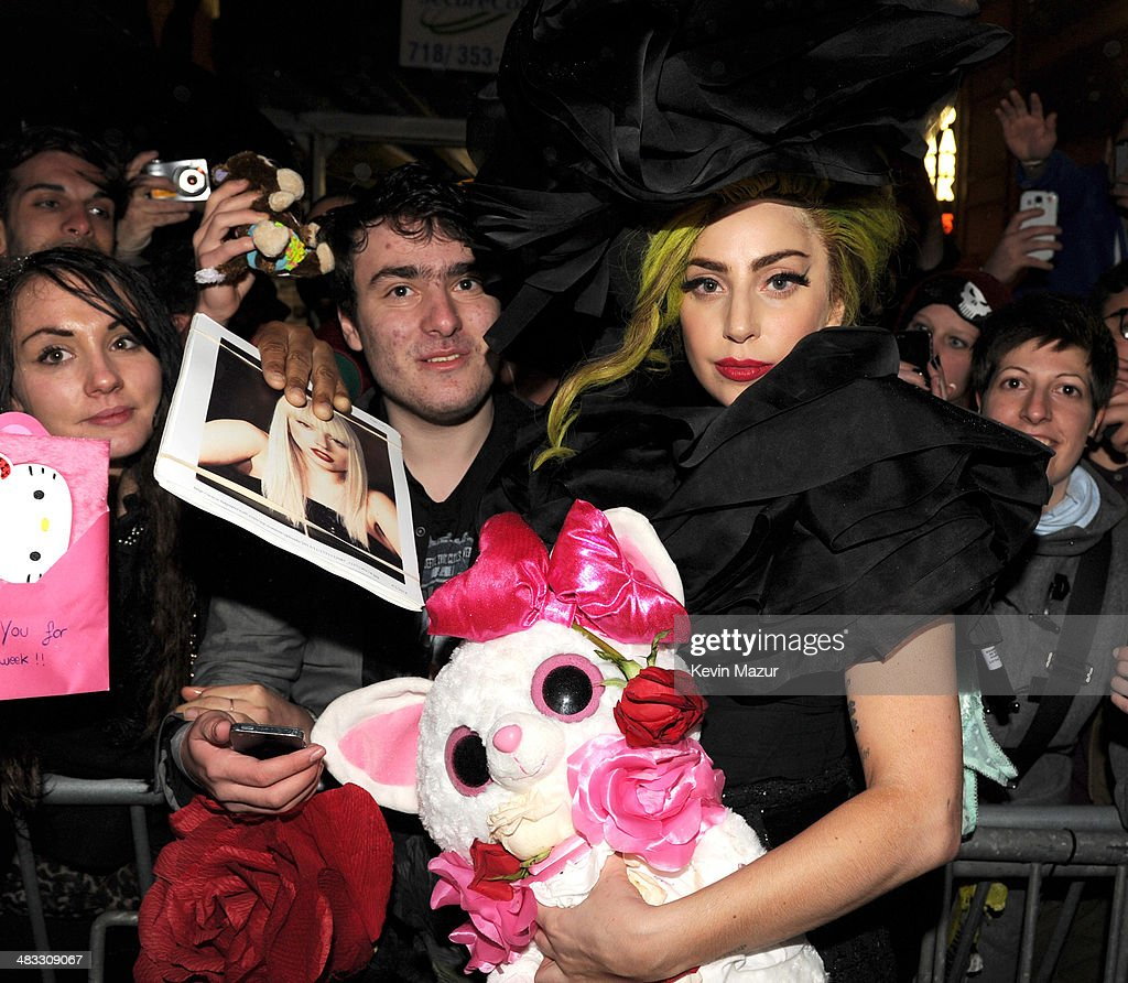 <a gi-track='captionPersonalityLinkClicked' href=/galleries/search?phrase=Lady+Gaga&family=editorial&specificpeople=4456754 ng-click='$event.stopPropagation()'>Lady Gaga</a> greets fans as she departs Roseland Ballroom on April 7, 2014 in New York City.