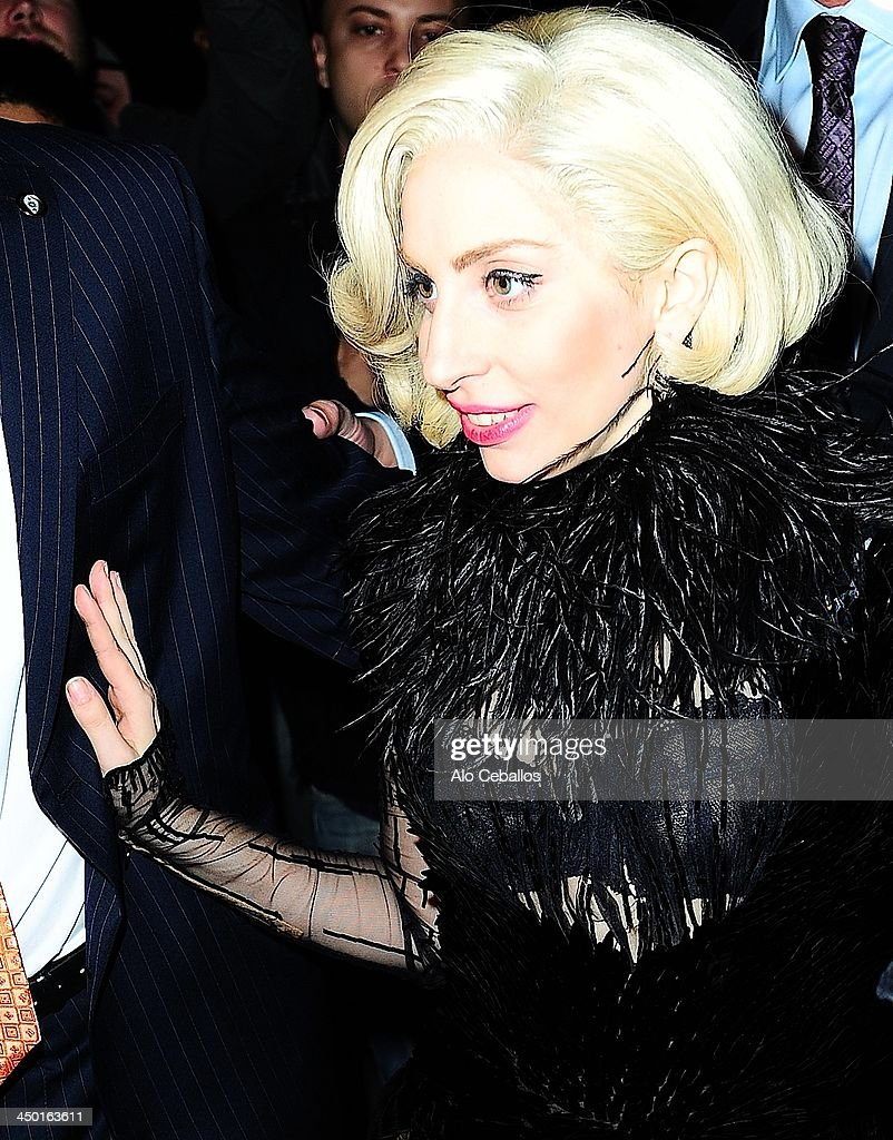 <a gi-track='captionPersonalityLinkClicked' href=/galleries/search?phrase=Lady+Gaga&family=editorial&specificpeople=4456754 ng-click='$event.stopPropagation()'>Lady Gaga</a> is seen arriving at SNL after party on November 16, 2013 in New York City.