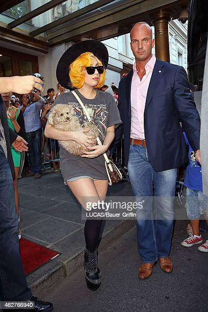 Lady Gaga is seen exiting her hotel with her puppy Fozzy on August 18 2012 in Vienna Austria
