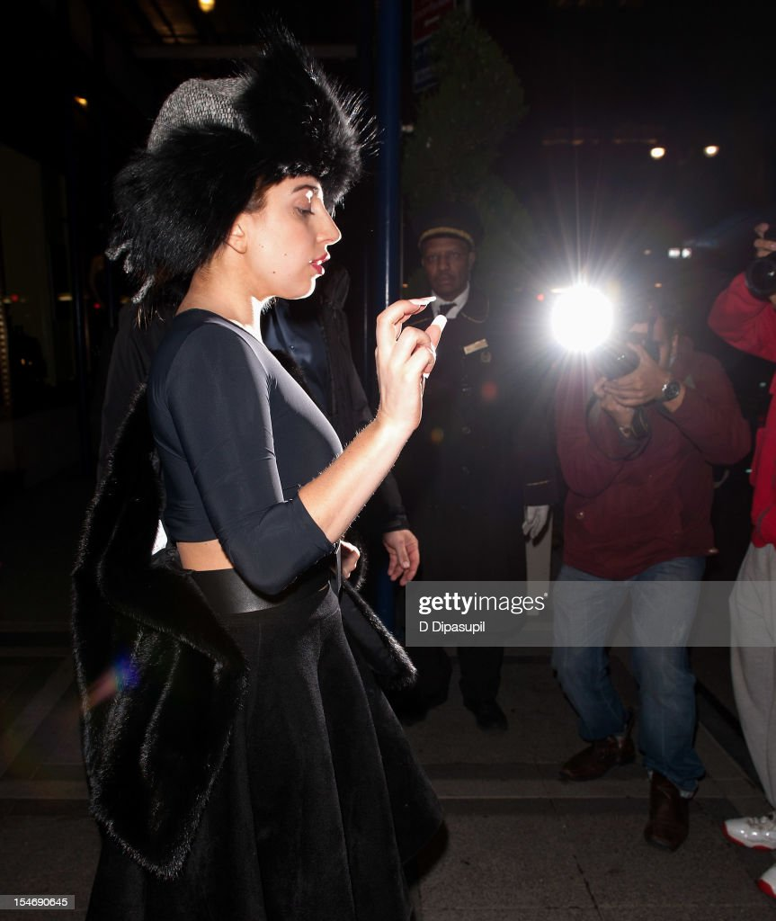 <a gi-track='captionPersonalityLinkClicked' href=/galleries/search?phrase=Lady+Gaga&family=editorial&specificpeople=4456754 ng-click='$event.stopPropagation()'>Lady Gaga</a> is seen exiting The Waldorf Towers on October 24, 2012 in New York City.