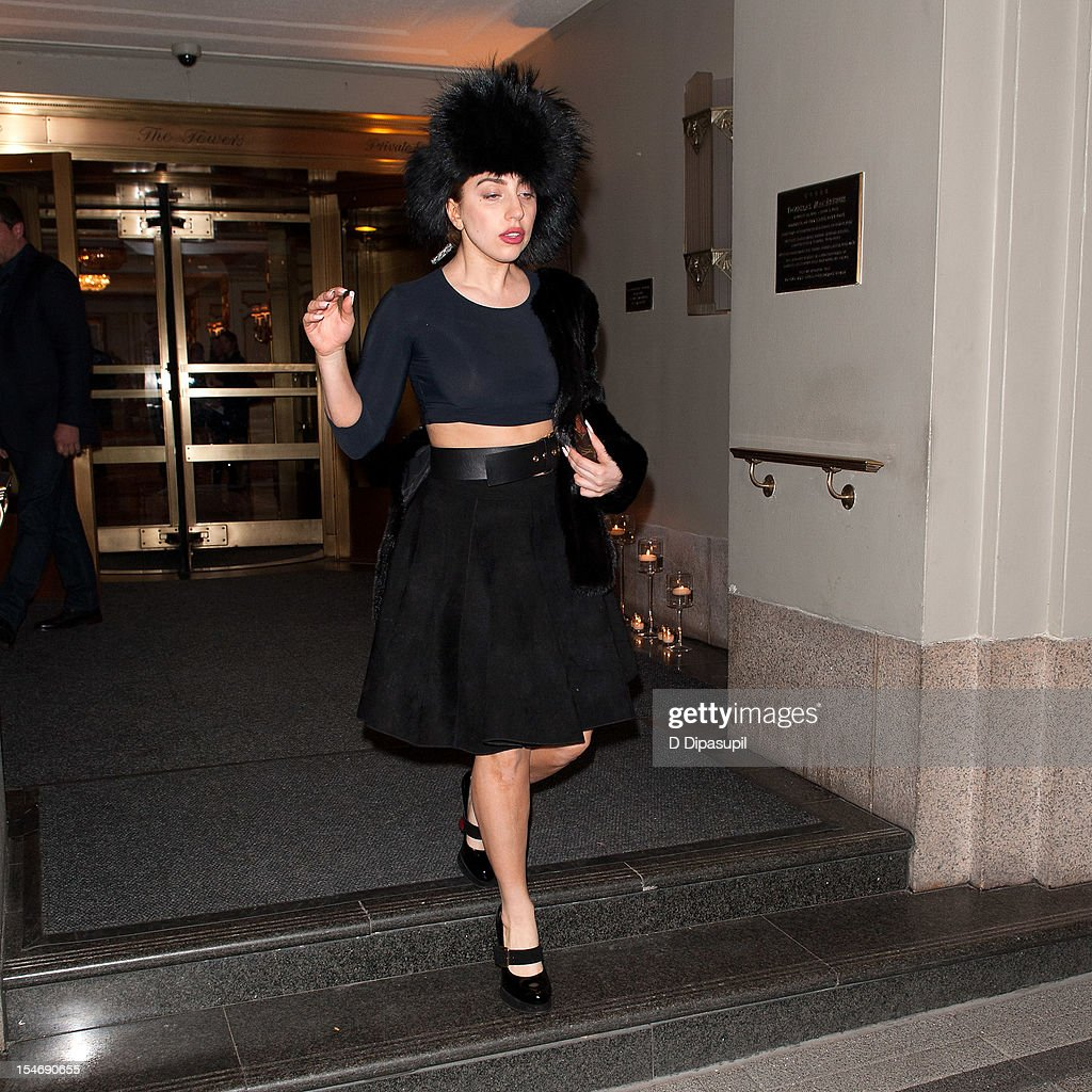 Lady Gaga is seen exiting The Waldorf Towers on October 24, 2012 in New York City.