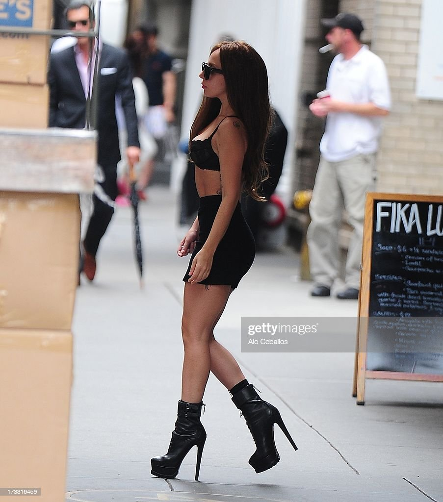 Lady Gaga is seen in Midtown on July 11, 2013 in New York City.