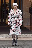Lady Gaga is seen leaving Park Hyatt Hotel on November 6 2014 in Milan Italy