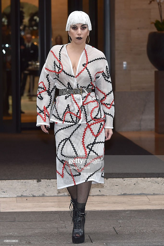 Lady Gaga is seen leaving Park Hyatt Hotel on November 6, 2014 in Milan, Italy.