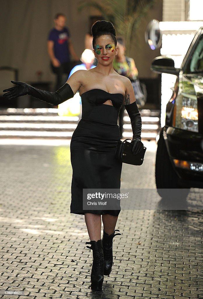 Lady Gaga is seen on August 15, 2013 in Los Angeles, California.