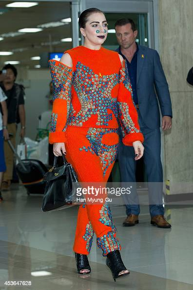 Lady Gaga is seen upon arrival at Gimpo International Airport on August 15 2014 in Seoul South Korea