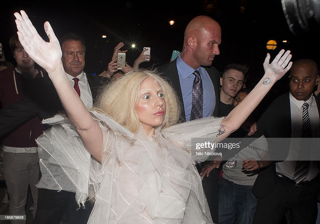Lady Gaga is sighted arriving at her Hotel in London on October 25, 2013 in London, England.