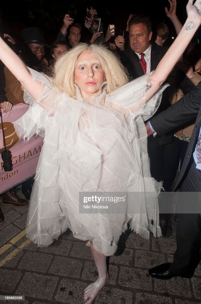 <a gi-track='captionPersonalityLinkClicked' href=/galleries/search?phrase=Lady+Gaga&family=editorial&specificpeople=4456754 ng-click='$event.stopPropagation()'>Lady Gaga</a> is sighted arriving at her Hotel in London on October 25, 2013 in London, England.