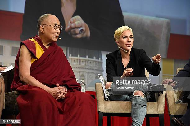 Lady Gaga joins his Holiness the Dalai Lama to speak to US Mayors about kindness at JW Marriott on June 26 2016 in Indianapolis Indiana