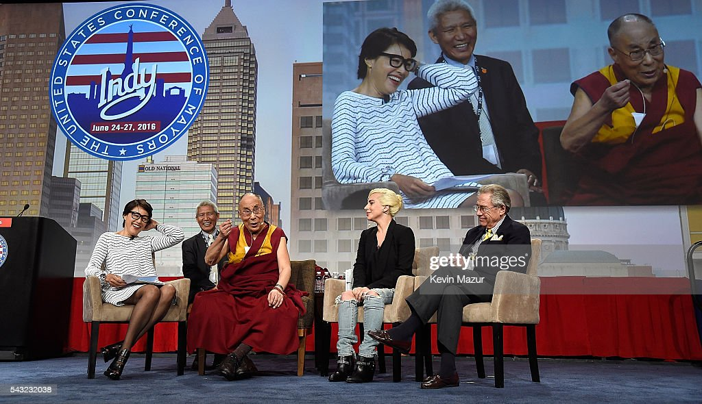 <a gi-track='captionPersonalityLinkClicked' href=/galleries/search?phrase=Lady+Gaga&family=editorial&specificpeople=4456754 ng-click='$event.stopPropagation()'>Lady Gaga</a> joins his Holiness the Dalai Lama to speak to US Mayors about kindness at JW Marriott on June 26, 2016 in Indianapolis, Indiana.