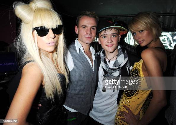 Lady GaGa Julian Benett George Sampson and Paris Hilton attend the Nokia 5800 launch party at Punk on January 27 2009 in London England