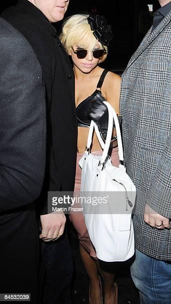 Lady GaGa leaves Bungalow 8 nightclub in Soho on January 28 2009 in London England