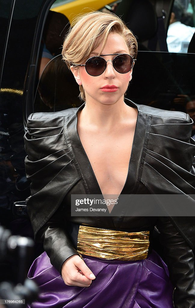 <a gi-track='captionPersonalityLinkClicked' href=/galleries/search?phrase=Lady+Gaga&family=editorial&specificpeople=4456754 ng-click='$event.stopPropagation()'>Lady Gaga</a> leaves 'Elvis Duran and the Z100 Morning Show' at Z100 Studio on August 19, 2013 in New York City.