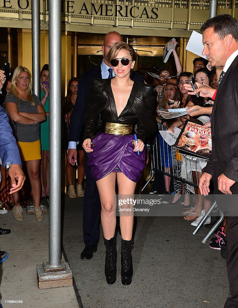 Lady Gaga leaves 'Elvis Duran and the Z100 Morning Show' at Z100 Studio on August 19, 2013 in New York City.