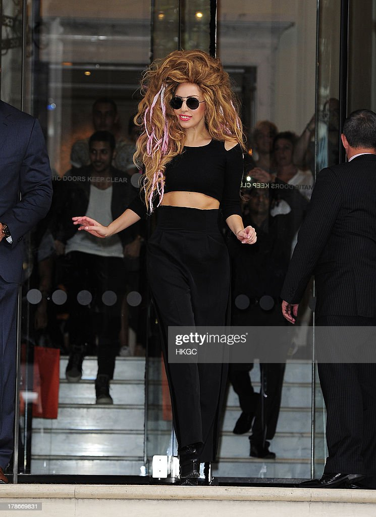 Lady Gaga leaves her London hotel and meets her fans on August 30, 2013 in London, England.