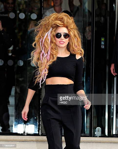 Lady Gaga leaves her London hotel and meets her fans on August 30 2013 in London England