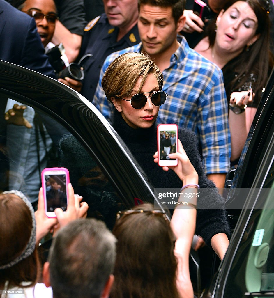 Lady Gaga leaves SiriusXM Studio on August 19, 2013 in New York City.