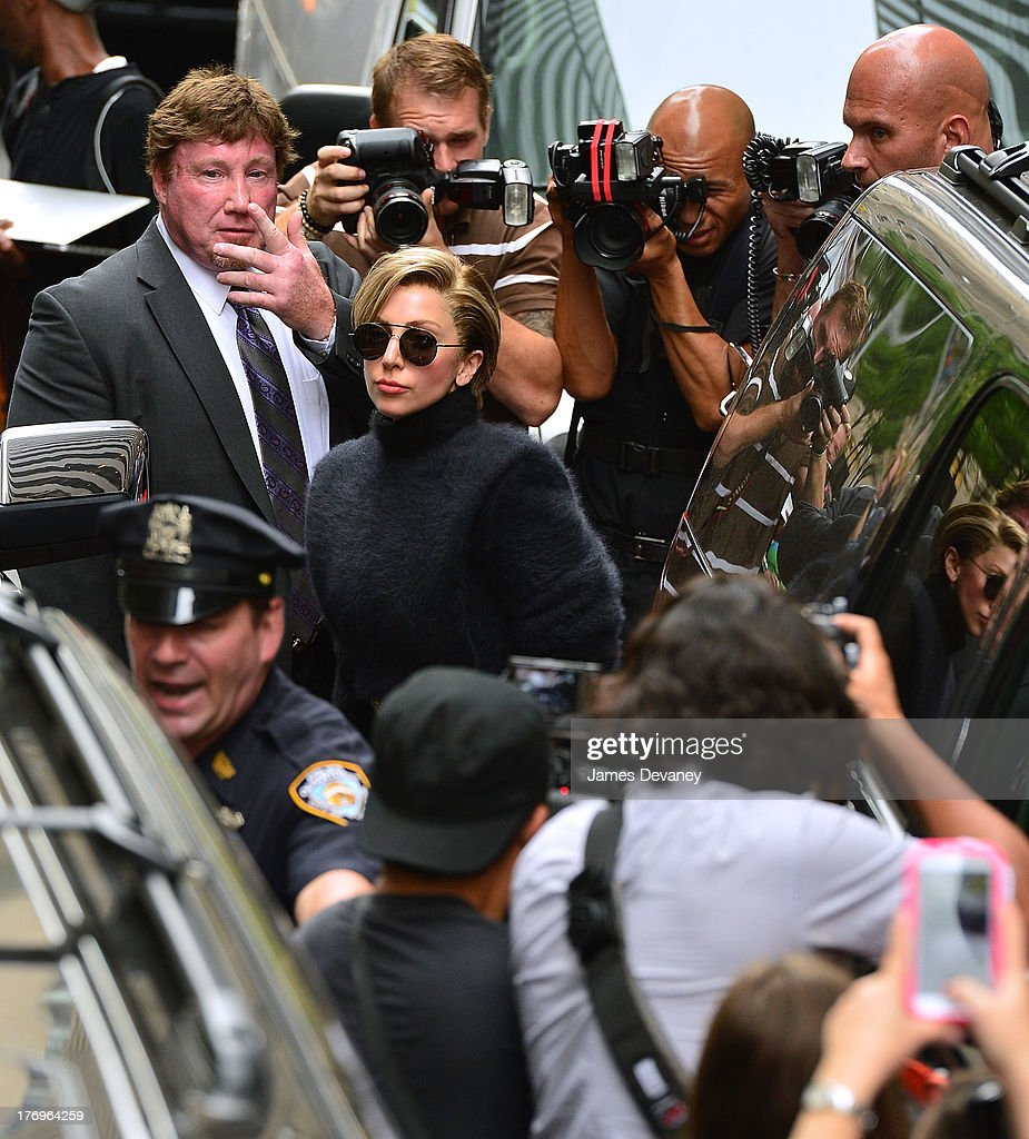 <a gi-track='captionPersonalityLinkClicked' href=/galleries/search?phrase=Lady+Gaga&family=editorial&specificpeople=4456754 ng-click='$event.stopPropagation()'>Lady Gaga</a> leaves SiriusXM Studio on August 19, 2013 in New York City.