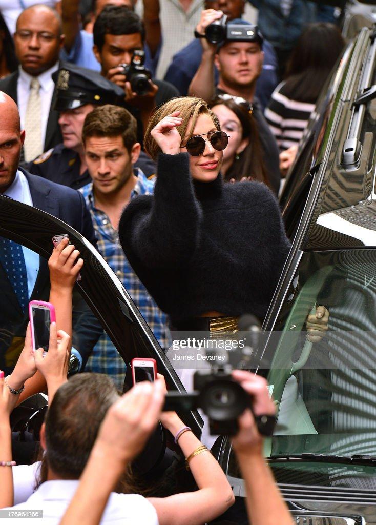 Lady Gaga leaves SiriusXM Studio on August 19, 2013 in New York City.