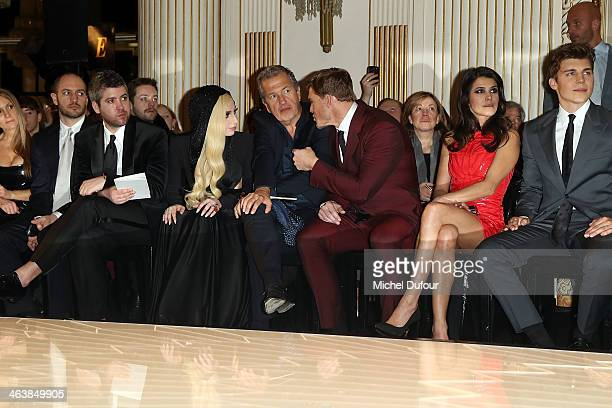 Lady Gaga Mario Testino Alan Ritchson and Karine Ferri attend the Atelier Versace show as part of Paris Fashion Week Haute Couture Spring/Summer 2014...