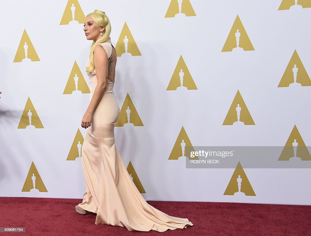Lady Gaga, nominee for Original Song, arrives at the 88th Oscar Nominees Luncheon in Beverly Hills, California, February 8, 2016 / AFP / ROBYN BECK