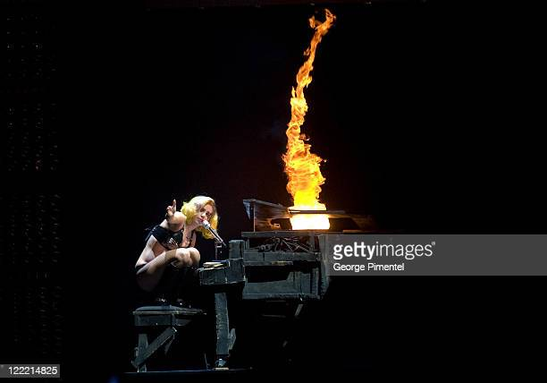 Lady Gaga performs at the Air Canada Centre on July 11 2010 in Toronto Canada