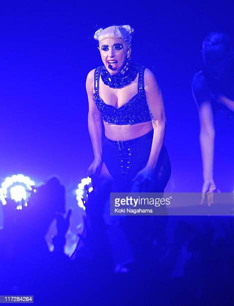 Lady Gaga performs during the MTV Video Music Aid Japan at Makuhari Messe on June 25 2011 in Chiba Japan