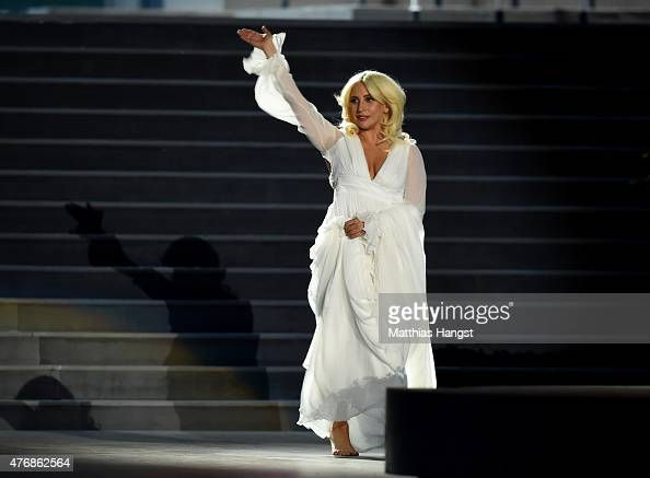 Lady Gaga performs during the Opening Ceremony for the Baku 2015 European Games at the Olympic Stadium on June 12 2015 in Baku Azerbaijan