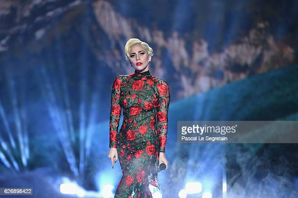 Lady Gaga performs during the Victoria's Secret Fashion Show on November 30 2016 in Paris France