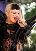Lady Gaga performs on ABC's 'Good Morning America' at Rumsey Playfield Central Park on May 27 2011 in New York United States