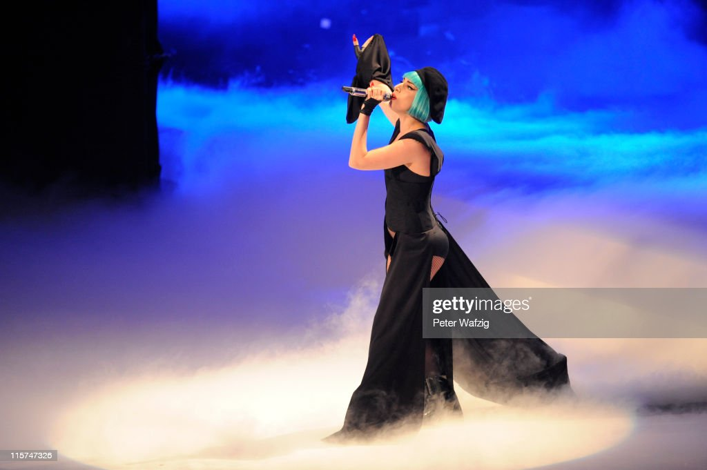 <a gi-track='captionPersonalityLinkClicked' href=/galleries/search?phrase=Lady+Gaga&family=editorial&specificpeople=4456754 ng-click='$event.stopPropagation()'>Lady Gaga</a> performs on stage during the finalists show of 'Germany's Next Topmodel' at the Lanxess-Arena on June 09, 2011 in Cologne, Germany.