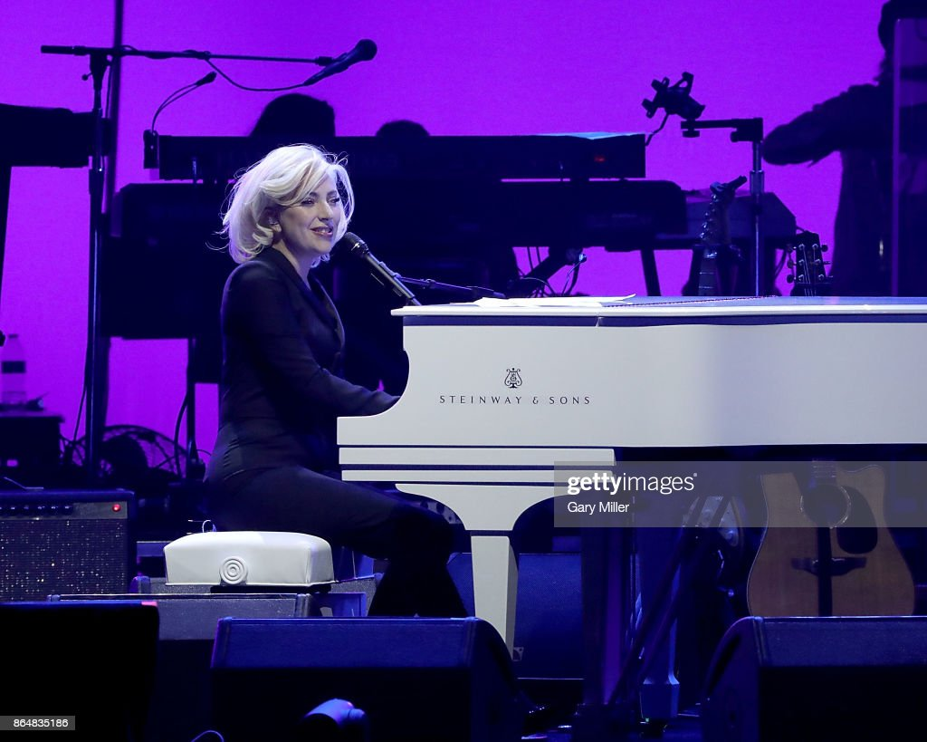 Lady Gaga performs on stage during the soundcheck for the 'Deep From The Heart: One America Appeal Concert' at Reed Arena on October 21, 2017 in College Station, Texas.