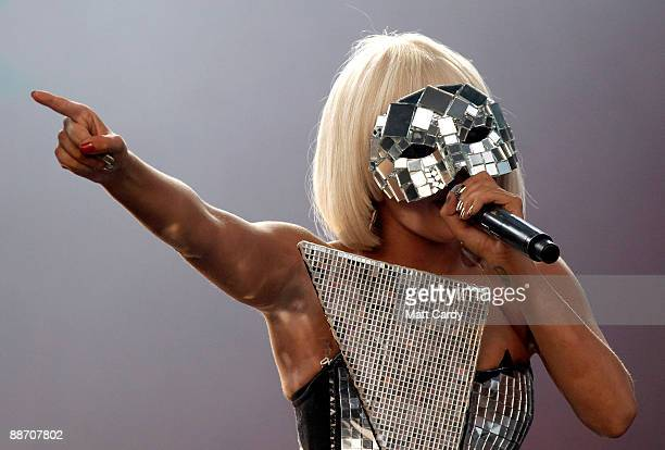 Lady GaGa performs on the Other Stage at the Glastonbury Festival on June 26 2009 in Glastonbury England