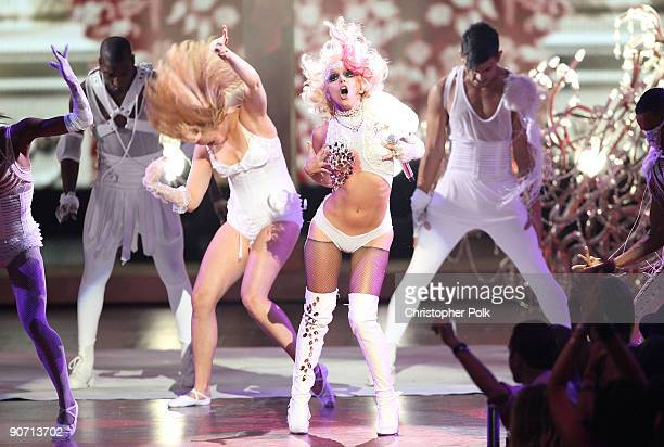 Lady Gaga performs onstage during the 2009 MTV Video Music Awards at Radio City Music Hall on September 13 2009 in New York City
